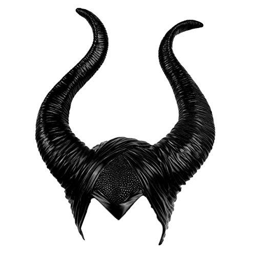 Queque Shine Halloween Kostüm Kopfschmuck Hörner für Maleficent Cosplay Dekoration Latex Kopfbedeckung Hut Party (Maleficent' Kopfbedeckung Kostüm)