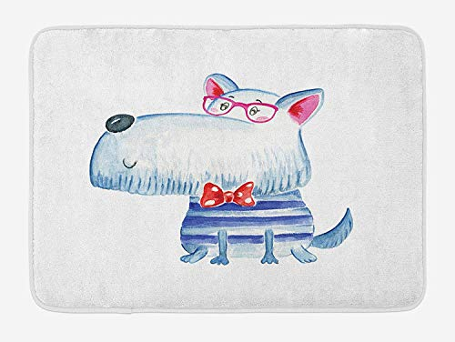 MSGDF Hipster Bath Mat, Cute Puppy Dog with Bow Tie and Glasses Nerdy Best Friends Pet Terrier Print, Plush Bathroom Decor Mat with Non Slip Backing, 23.6 W X 15.7 W Inches, Navy Blue Grey
