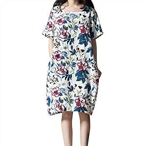 AMUSTER Damen Vintage Langarm Loose Kleid Boho Taschen Asymmetrisch Kleider Baumwolle Leinen Blumenmuster Lang Bluse Shirt Mit Taschen