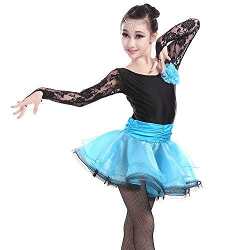 GBDSD Lateinischen Performance Kleidung für Kinder-verkrusteten Kleider für Herbst/Winter Mädchen Rennen Anzug Erwachsene Gesellschaftstanz Kleid Latin Dance Dance Kleidung , blue , S