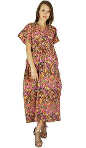 Phagun Kaftan Bohemian Longue Maxi Vêtement De Nuitrobe Imprimée En Coton Rose Et Pale Jaune