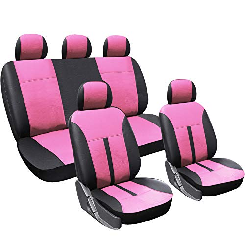 WOLTU AS7290 Set Completo di Coprisedili Auto Seat Cover per Macchina Universali Protezione per Sedile Similpelle Nero