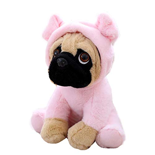 FONGFONG Weich Plüschtier Mops Hund mit Kostüm Kuscheltier 20 cm Gefüllte Puppe für Dekorieren Kinder Spielzeug Geschenke ()
