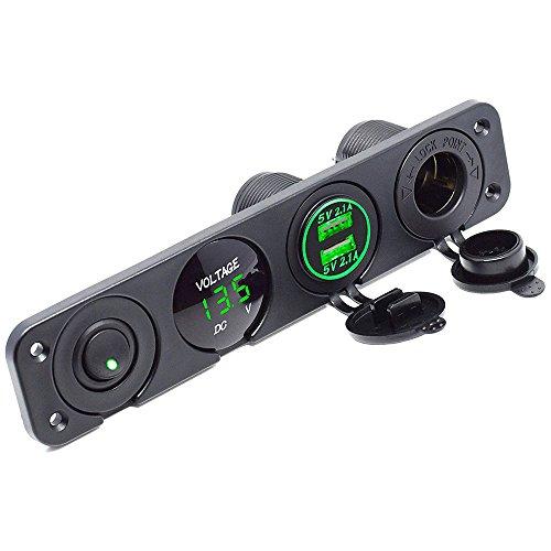 Meipire Dual USB Buchse Ladegerät 2.1A + 2.1A + LED Voltmeter + 12V Steckdose + ON-OFF Kippschalter Vier Funktionen Panel für Auto Boot Marine RV Truck Camper Fahrzeuge GPS Usw (Grün) 12v Dual Outlet