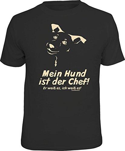 Original RAHMENLOS® T-Shirt für den Hundebesitzer: Mein Hund ist der Chef-Er weiß es, ich weiß es XXL, Nr.6282 (Tier-liebhaber-hund-tag)