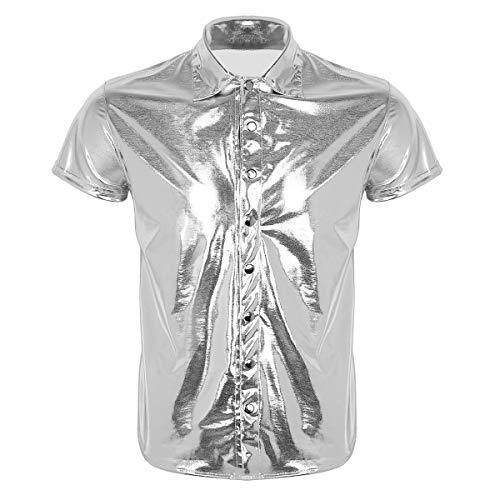 Tiaobug Herren Leder Hemd Kurzarm Kunstleder Freizeithemd Lack Optik dehnbar und angenehm Männer Shirt Polizeihemd Wetlook mit Brustaschen M L XL -leicht zu pflegen und reinigen Silber B XL