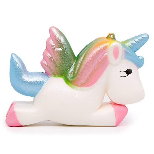(SPECOOL Squishy Unicorn, Wings Unicorn Kawaii Cream Scented Squishy Charms Stress Relief Toys (Colorful Unicorn))