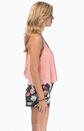 Smile YKK Débardeur Uni Femme Mousseline de Soie Tops Eté T-shirt Court Col Rond Chic Rose
