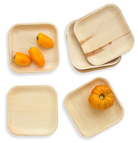 """Leafily Palmblattteller - 18 cm (7\"""") Quadratisch - Bio - 100{51801a789cec89b3416153010e266a728378a54074e3ba57fc482c6853386e75} kompostierbar - Biologisch abbaubar - Robust- umweltfreundlich - Premium-Qualität - Einwegteller - USDA Zertifiziert - 22 Stück"""