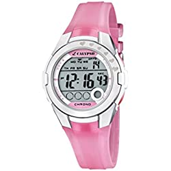 Calypso Girl's Digital Watch with LCD Dial Digital Display and Pink Plastic Strap K5571/2