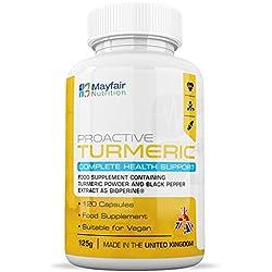 Cúrcuma Mayfair Nutrition con BioPerine | Cápsulas veganas de alta potencia de 600mg | Extracto de Pimienta negra de primera calidad | No GMO y sin Gluten | Suministro para 4 meses | Hecho en UK