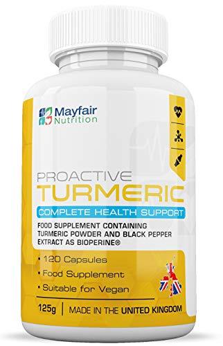 Mayfair Nutrition Kurkuma mit BioPerin | 600 mg Vegane Hochwirksame Kapseln | Hochwertigem schwarzen Pfefferextrakt | Gentechnik- & glutenfrei | 4 Monatspackung | Hergestellt in Großbritannien