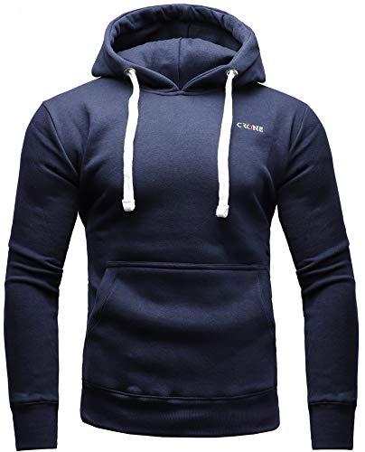 CRONE Basic Herren Fleece-Hoodie Kapuzenpullover aus 100% Baumwolle mit Logo (XL, Navy)