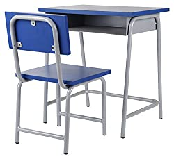 Metro MM001_B Children's Study Table with Chair (Glossy Finish, Blue and White)