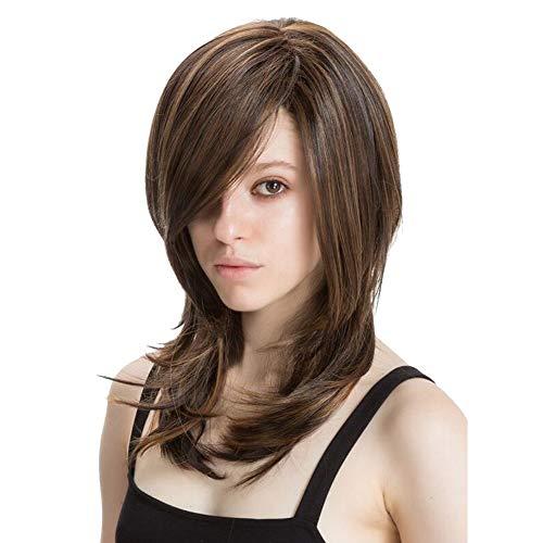 WIGSBEATY 45cm Weiblich Glattes Haar Haare stilvoll schick Künstlich Haarteil Mit Kostenlosen Perücke Kappe Perücke, Brown -