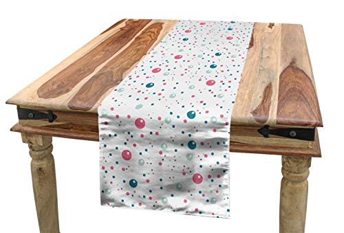 ABAKUHAUS Modern Tischläufer, Pastellfarben Polka Dots, Esszimmer Küche Rechteckiger Dekorativer Tischläufer, 40 x 180 cm, Rosa Blau