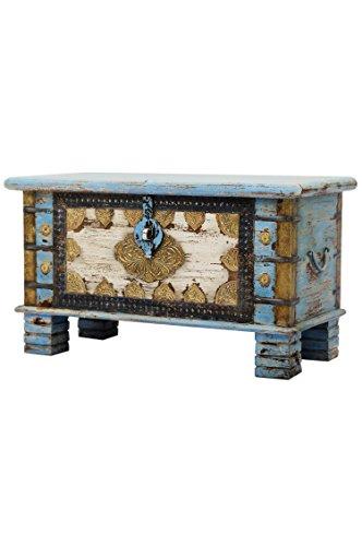 Orientalische Truhe Kiste aus Holz Ezgi 80cm groß in Antik | Vintage Sitzbank mit Aufbewahrung für den Flur | Aufbewahrungsbox mit Deckel im Bad | Betttruhe als Kissenbox oder Deko im Schlafzimmer -