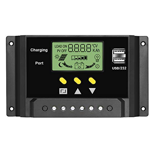 24 Volt 30 Amp (ALLPOWERS 30A Solar Ladegerät Controller 12V/24V Solar Panel Batterie Intelligente Regler mit USB Port Display)