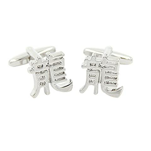 Yoursfs White Steel Plated Brass Chinese Character Dragon Business Cufflinks for Men