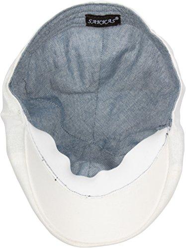 Sakkas casquette plate crieur de journaux ivy en lin Blanc
