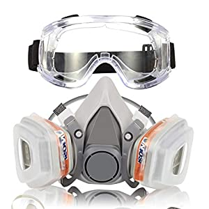 Respiratore Maschera Antigas Gas Semimaschera con Doppio Filtro Maschera Antipolvere Riutilizzabile Anti Gas, Vapori e… 41WhvljjFHL. SS300