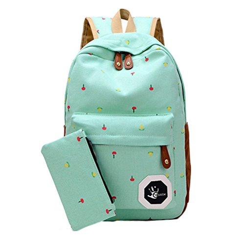 ragazze a tracolla chiaro semplice verde rosso grande outflower capacità fiori studente Cartella borsa Zaino moda zwgqwxX68