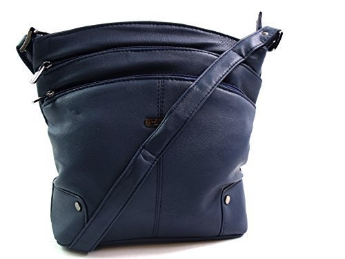 The Leather Emporium, Borsa a secchiello donna Blu (Blu marino)