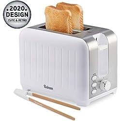 Grille Pain Large Fente 3 en 1 - Blanc Mat en Inox, Toaster Vintage - Pince en Bambou Gratuite - 7 Niveaux de Brunissage - 850W - Chauffe Petit Pain et Ramasse Miette