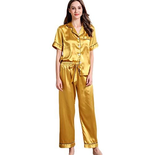 2 Stück Satin-bikini (❤❤JiaMeng Satin Nachtwäsche Damen, 2 Stück Schlafanzüge Satin Träger Mit Augenmaske Dessous Sexy Split Zurück Pyjama Set mit Hosen Negligee Sleepwear Sets Kurz)