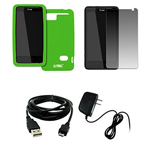 EMPIRE AT&T HTC Holiday Neon Green Silicone Skin Case Cover + Screen Protector + Home Wall Charger + USB Data Cable [EMPIRE Packaging]