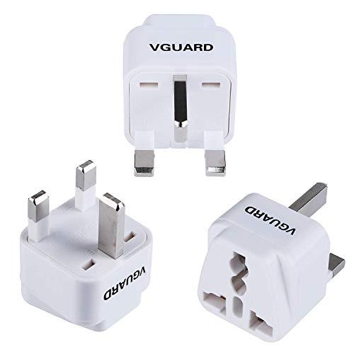 VGUARD Universal Adapterstecker, [3er Pack] International Travel Adapter Converter für EU, Europa, USA, Schweiz, Kanada, Asien, China, Australien, Mittlerer Osten nach UK 3 Pin Buchse - Weiß