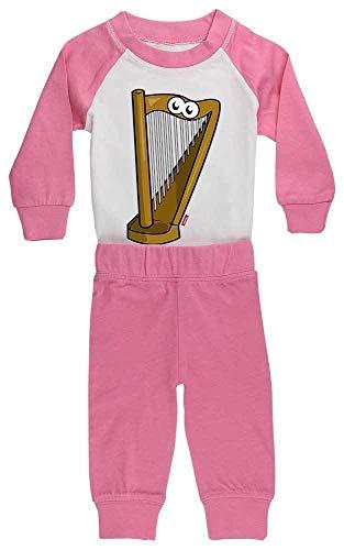 HARIZ Baby Pyjama Harfe Lachend Instrument Kind Witizg Inkl. Geschenk Karte Pink/Fuchsia 36-48 Monate