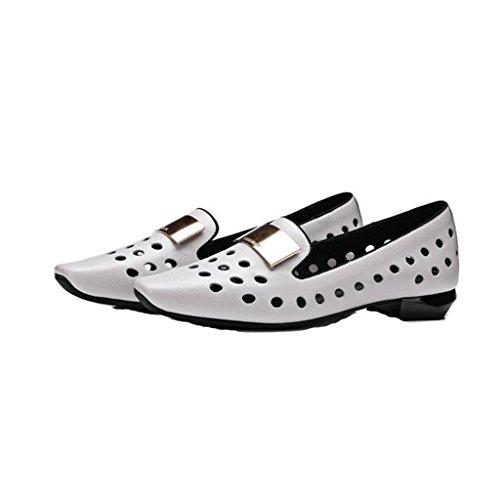 W&LMFemmina Bocca poco profonda Scarpe singole vera pelle Cavo traspirante sandali Testa quadrata Appartamento di scarpe casual Gray