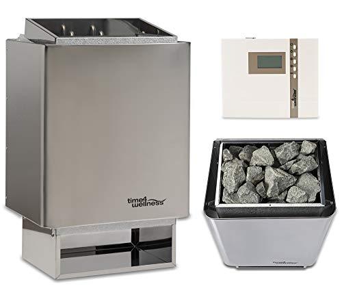Sauna-Set Saunaofen EOS 34.A mit Saunasteuerung und Saunasteine time4wellness (9 kW, Saunasteuerung D2 mit Zeitvorwahl)