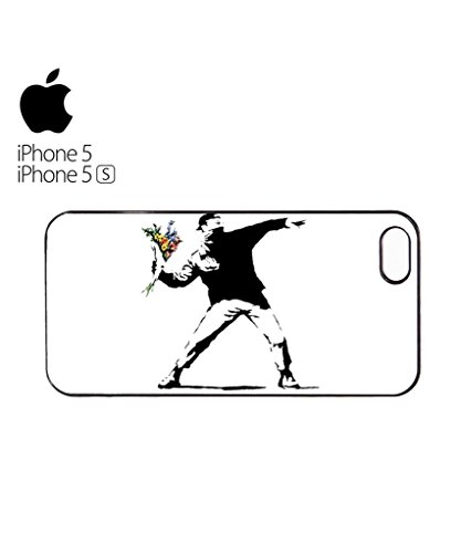 Banksy Flower Thrower Mobile Cell Phone Case Cover iPhone 5c Black Weiß