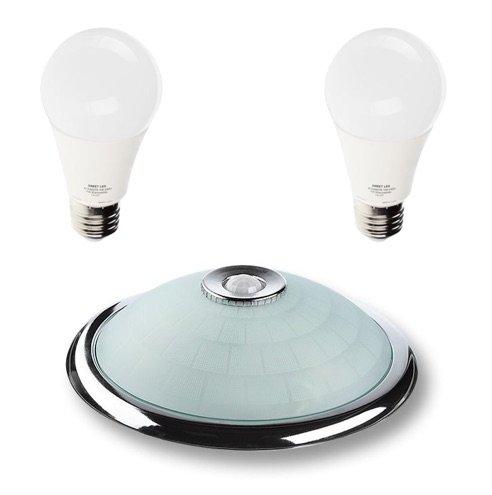 Deckenleuchte Weiß-Chrom mit Bewegungsmelder, 360° Sensor, mit 2 LED E27 9W Leuchtmittel, 18W