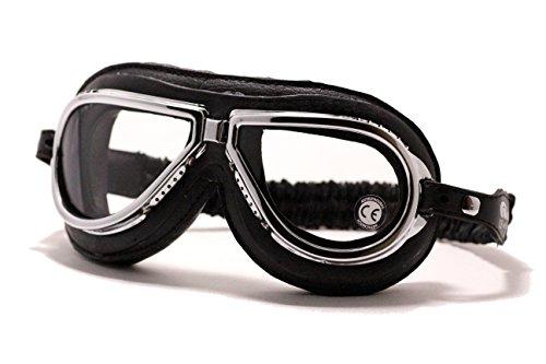 Motorradbrille CLIMAX 500 Retrobrille Fliegerbrille Schutzbrille Brille Chrom