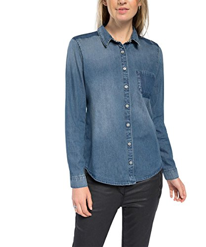 ESPRIT aus Jeans-Camicia Donna,    Blau (BLUE MEDIUM WASH 902) XS