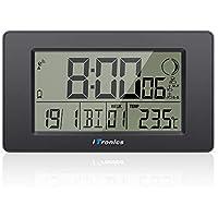 """iTronics Horloge Radio-pilotée Numérique 7.5"""" avec Alarme Veille Grand Écran LCD Compte à Rebours Thermomètre Phase Lunaire, Piles Fournies"""