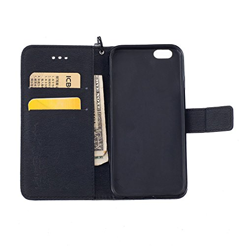 Etsue Case pour Apple iPhone 6/6S 4.7,Premium Folio Cuir Fleur Motif Gravée Relief Portefeuille avec Cordon Lanyard Housse pour Apple iPhone 6/6S 4.7,Support Flip PU Leather wallet Case Cover pour App Noir