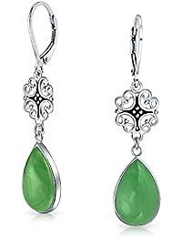 b6f794c16990 Jade verde filigrana Teardrop buena fortuna cuelgan Aretes de Plata  Esterlina