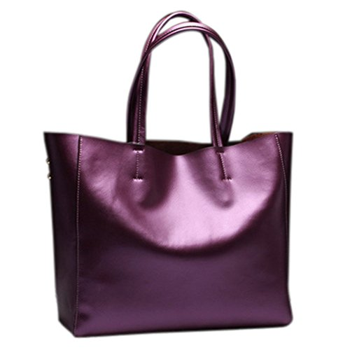 Remeehi Ladies Fashion Cattle Hide borse grandi dimensioni una borsa a tracolla, Black (Avorio) - JXQ0695-6 Purple