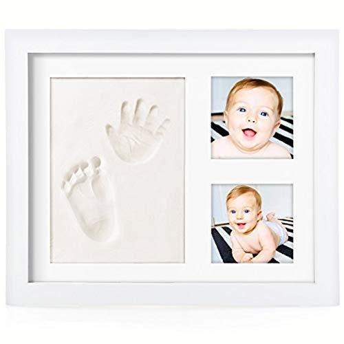 OSARA- Kit, marco de fotos de huella de mano y pie del bebé, de madera con molde de arcilla blanca, regalo original para recién nacidos.
