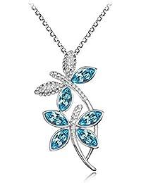 findout señoras de oro blanco de 18 quilates chapado en azul / blanco / rosa / libélula collar de amatista colgante de cristal. .para las mujeres y las niñas, (f1665)