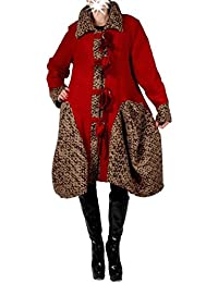 Damen Patchwork Wolle Lagenlook Wintermantel Mantel Swinger Trench Coat 42  44 46 M L XL Rot Übergang 69dbbe594d