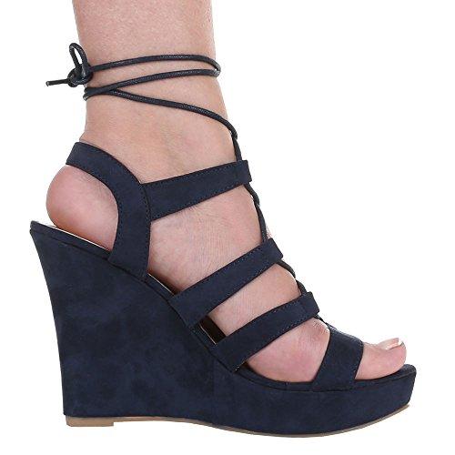 Damen Schuhe, 1336-KL, SANDALETTEN PUMPS MIT SCHNÜRUNG Dunkelblau