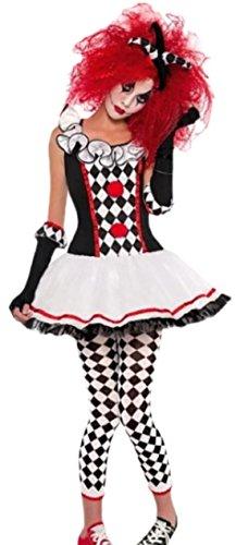 erdbeerloft - Mädchen Harlekin Kostüm, Halloween, 4-teilig, 12-13 Jahre, Schwarz-Weiß-Rot (Teenager Mädchen Halloween Kostüme)