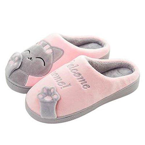 GESIMEI Kuschelige Katze Pantoffeln Warm Plüsch Hausschuhe Winter Bequeme Rutschfeste Slippers Herren Damen Rosa 36