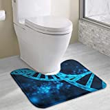 "Vidmkeo Bath Mat Non Slip Absorbent Super Cozy Coral Velvet Bathroom rug Toilet Carpet (15.74"" X 19.29"" U Contour, Blue Medicine Chromosome Art)"