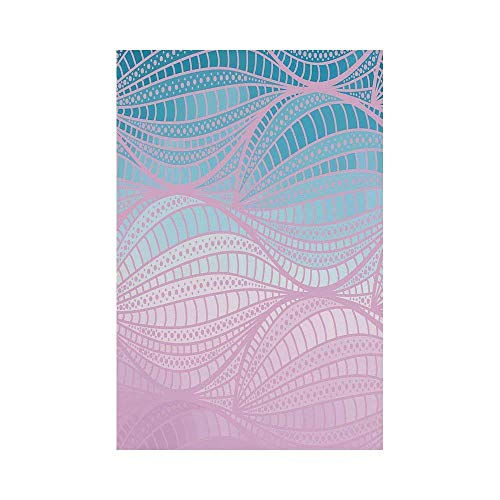 Liumiang Eco-Friendly Manual Custom Garden Flag Demonstration Flag Game Flag,Abstract,Wavy Curvy Stripes with Dots and Lines Funky Ethnic Spring Storm Decorative,Baby Pink Blue Light Blueoor d¨¦COR 4 Funky Dots